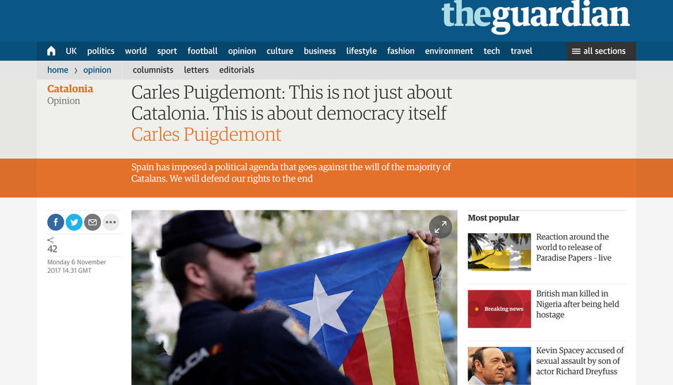 Article de Carles Puigdemont a 'The Guardian'.