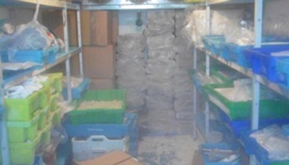 Imatge de l'interior del magatzem clandestí.