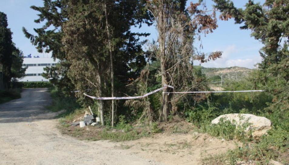 Imatge d'arxiu de la zona acordonada pels Mossos d'Esquadra al camí de la Budellera als afores de Tarragona, on els agents investigaven la mort de Meritxell Vall.