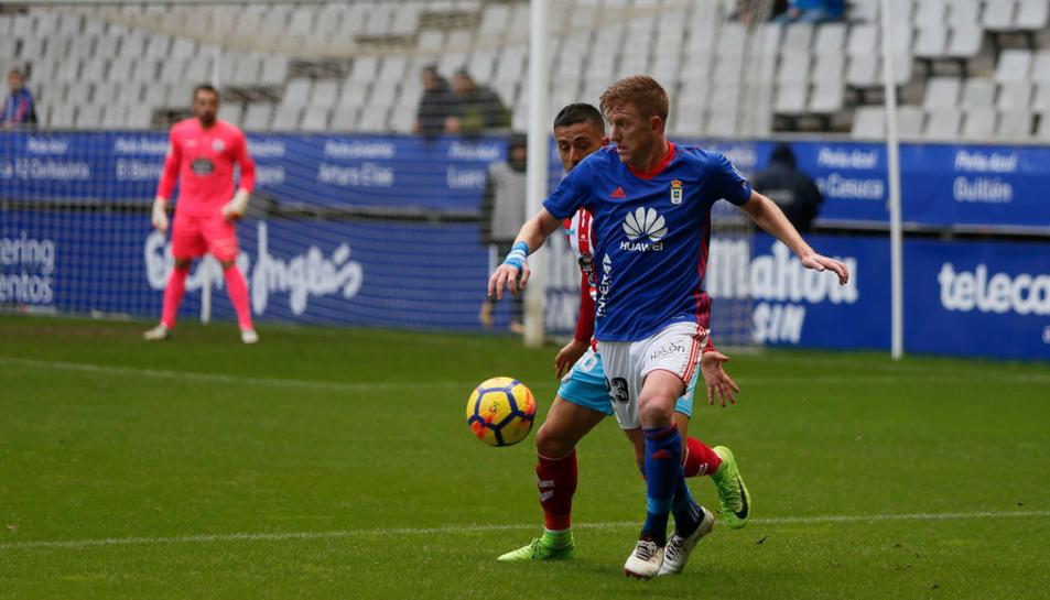 Mossa, durant una acció de l'Oviedo-Lugo d'aquest passat diumenge, que va acabar amb victòria asturiana (3-2).