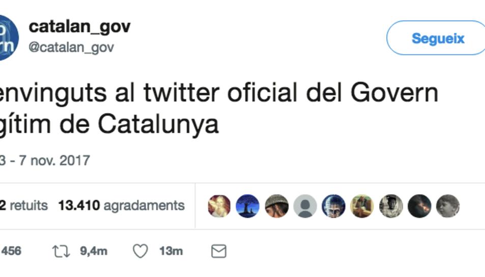 La primera piulada del nou Twitter oficial del Govern de Puigdemont.