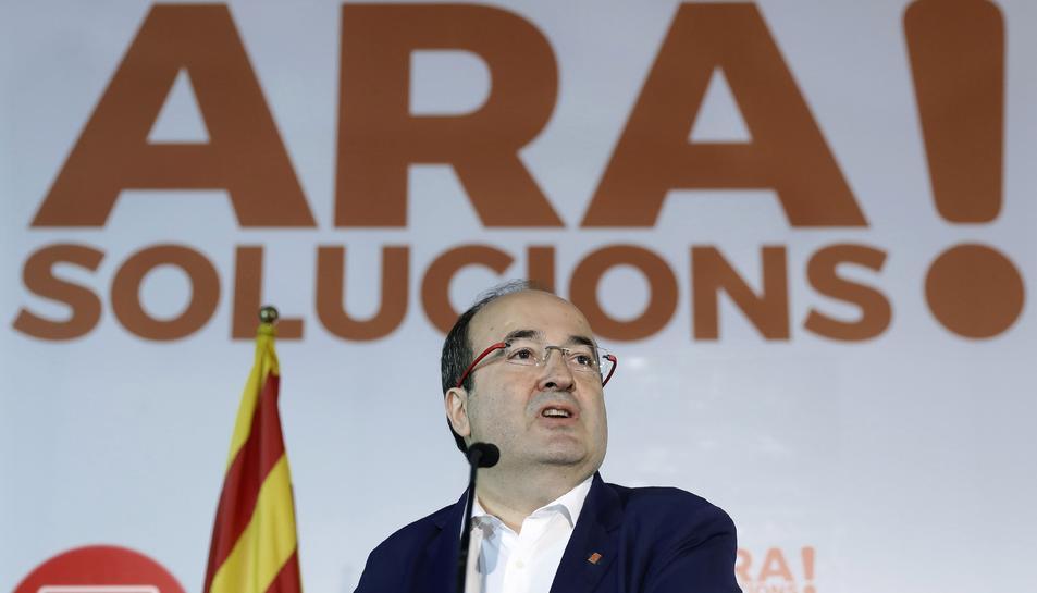 El primer secretari del PSC, Miquel Iceta, durant la inauguració de la jornada sobre el programa electoral dels socialistes per al 21-D.