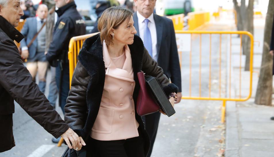 Carme Forcadell en la seva arribada al Tribunal Suprem aquest 9 de novembre.