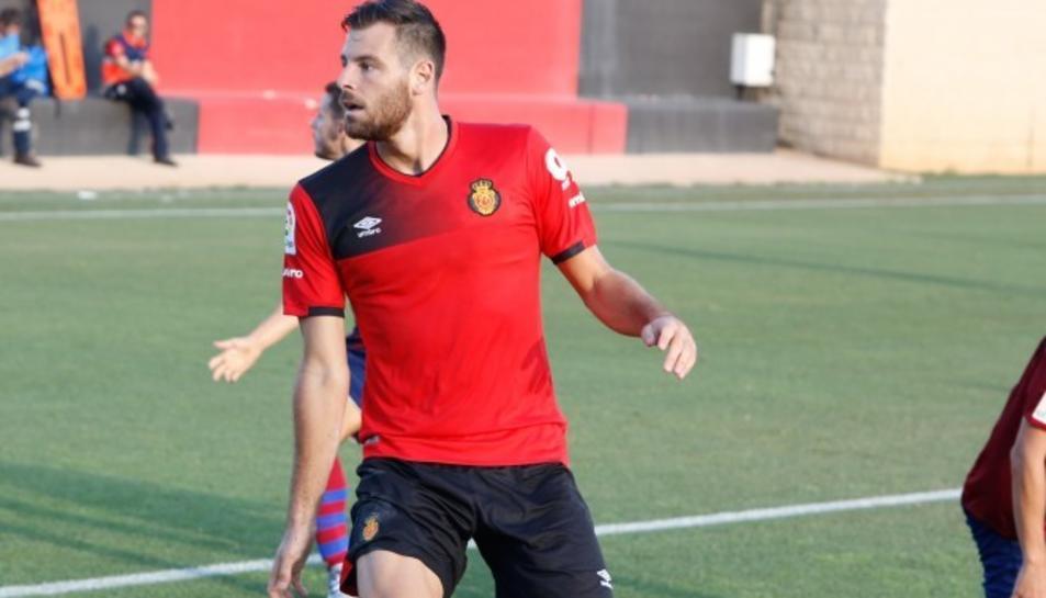 Álex López, entrenant amb el RCD Mallorca.