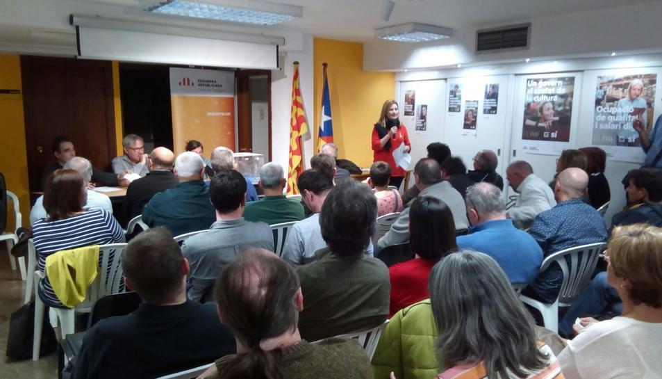 Congrés comarcal d'ERC a Tarragona, amb Raquel Sans, independent que ara s'inlou a la llista electoral.