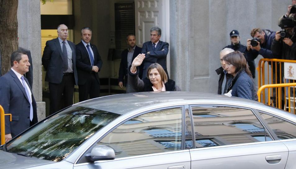 La presidenta del Parlament, Carme Forcadell, en el moment de la seva arribada al Tribunal Suprem