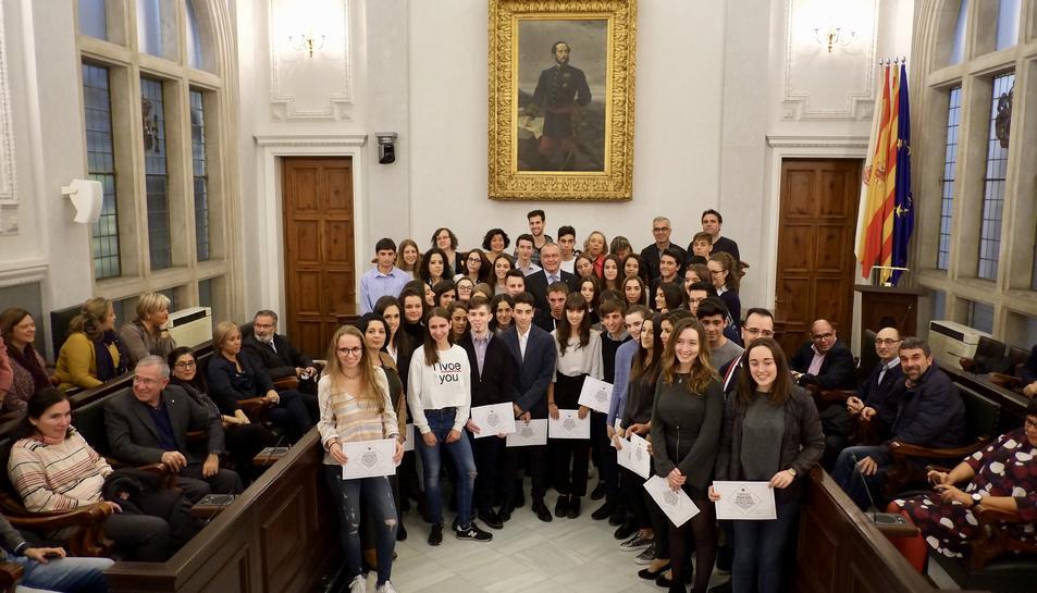 Imatge de l'acte de reconeixement de l'alumnat excel·lent 2016-2017 de Reus.