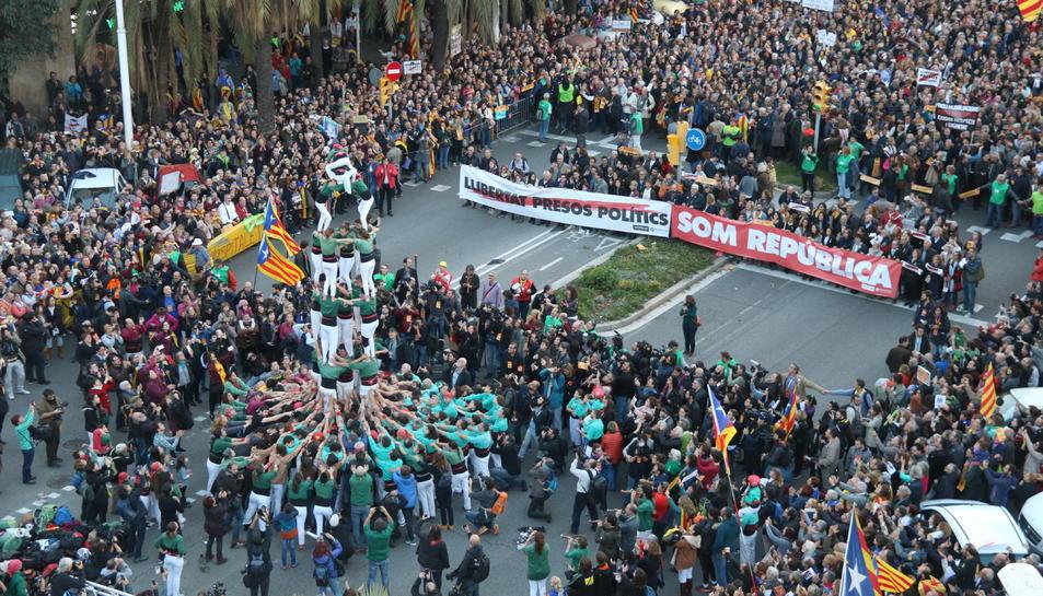 Imatge de la capçalera de la manifestació de Barcelona.
