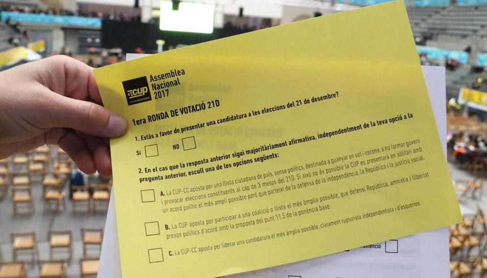 Imatge de la butlleta amb les opcions proposades per la CUP per presentar-se el 21D.