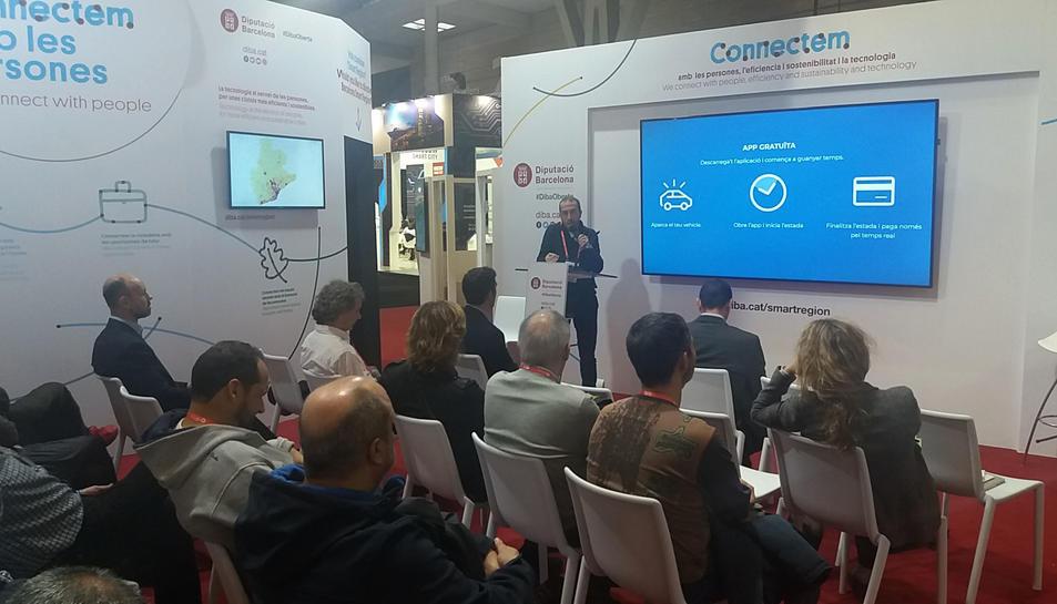 Imatge d'una de les ponències de l'Ajuntament de Reus a l'Smart City Expo World Congress de Barcelona.