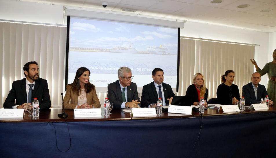 Un moment de la roda de premsa de balanç de la temporada de creuers del Port de Tarragona.
