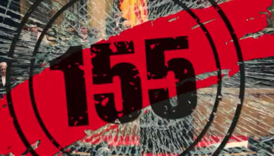 Imatge del vídeo publicat per Òmniun per denunciar els efectes del 155.
