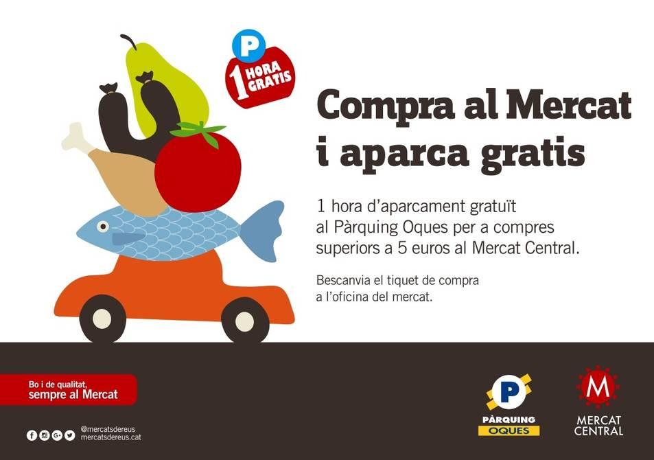 Imatge de la campanya 'Compra al mercat i aparca gratis'.