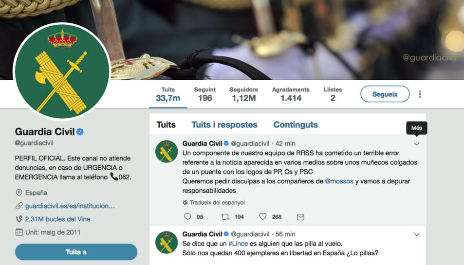 Imatge del perfil de Twitter de la Guàrdia Civil.