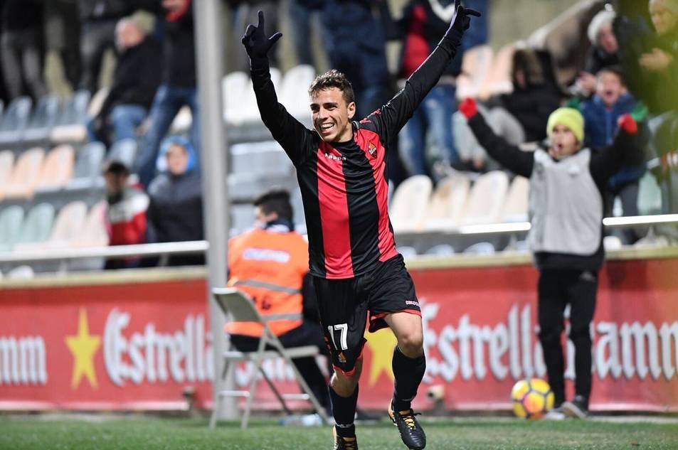 David Haro celebra el seu gol davant el Barça B.