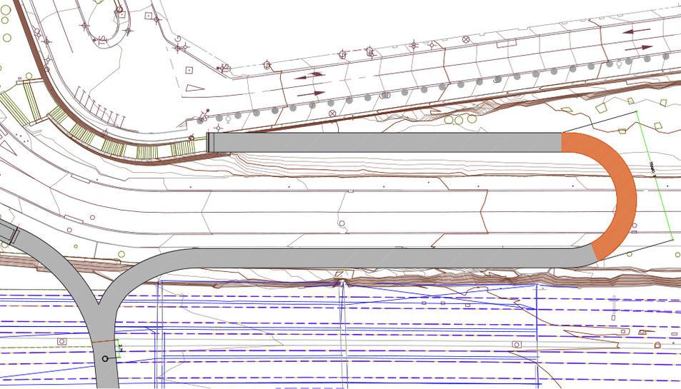 En vermell el tram corb que es col·locarà a finals de la pròxima setmana.