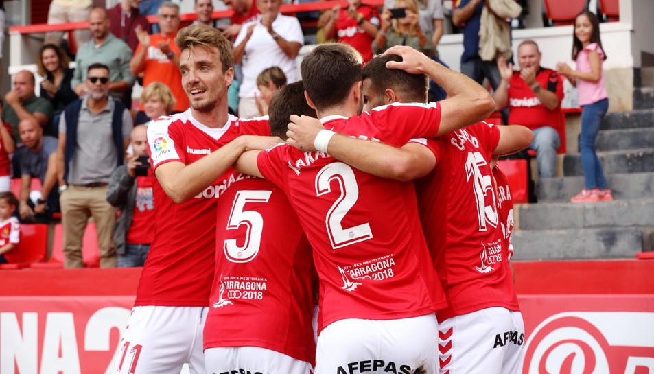 Els jugadors del Nàstic volen celebrar gols que ajudin a sumar un triomf aquest diumenge contra el Sevilla Atlético.