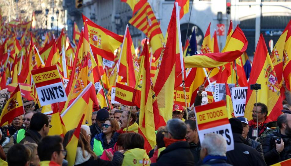 Banderes espanyoles durant la concentració.