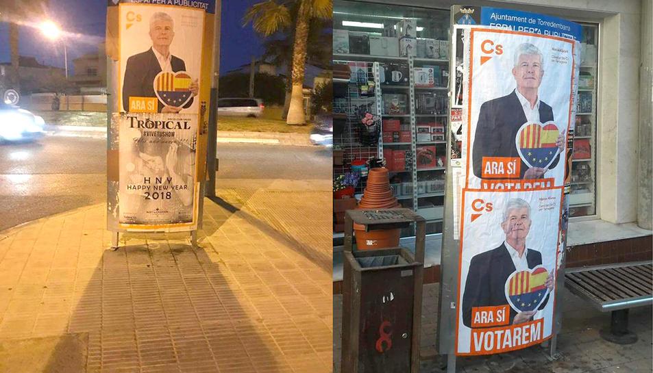 Els cartells es van penjar a indrets prohibits per a propaganda electoral.
