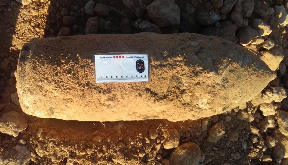 Imatge de l'explosiu trobat a Roda de Berà.