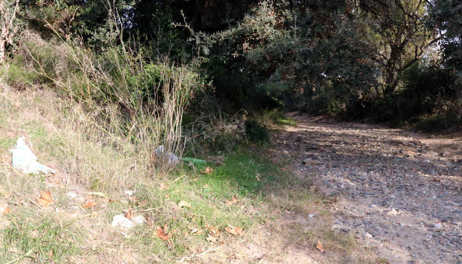 Barranc pròxim en uns vivers de Mont-roig del Camp, on va aparèixer un cadàver dins una bossa d'escombraries.