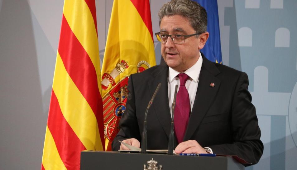 El delegat del govern espanyol a Catalunya, Enric Millo, durant la roda de premsa posterior al Consell de Ministres, aquest 7 de desembre.