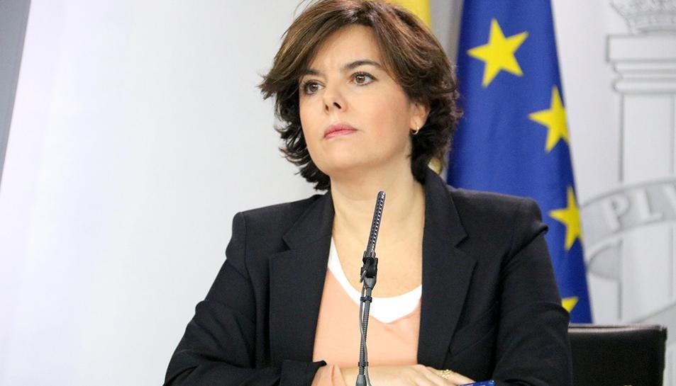 La vicepresidenta del govern espanyol, Soraya Sáenz de Santamaría, durant la roda de premsa posterior al Consell de MInistres.