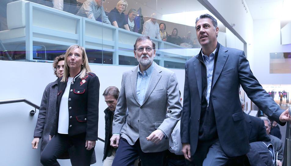 Mariano Rajoy, Xavier Garcia Albiol i Marisa Xandri, aquest divendres a La Llotja de Lleida.