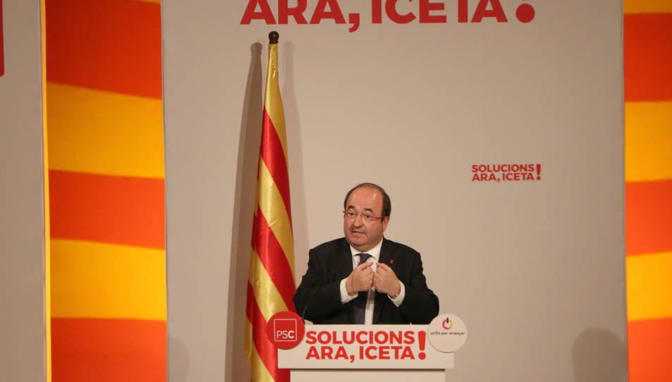 Miquel Iceta durant el seu míting a Tarragona.