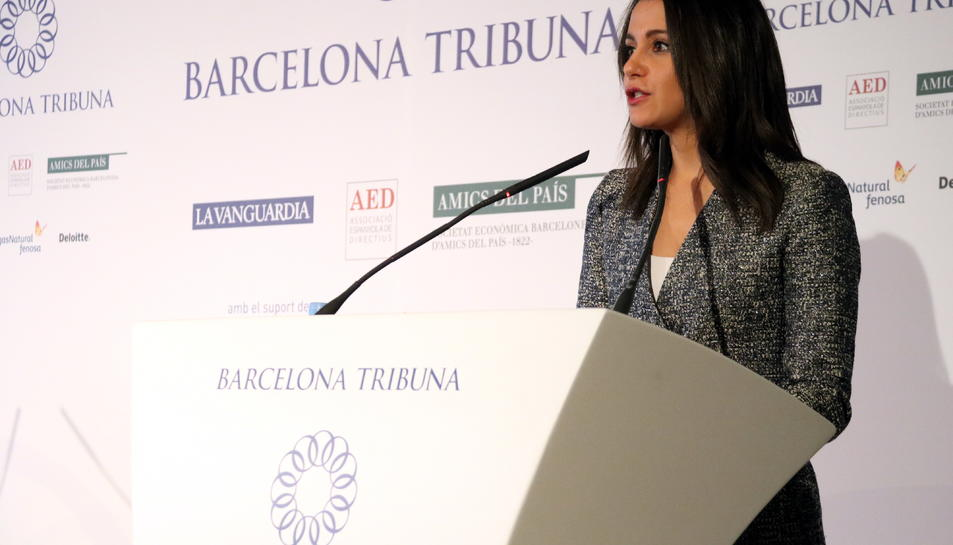 Primer pla d'Inés Arrimadas a la conferència Barcelona Tribuna.