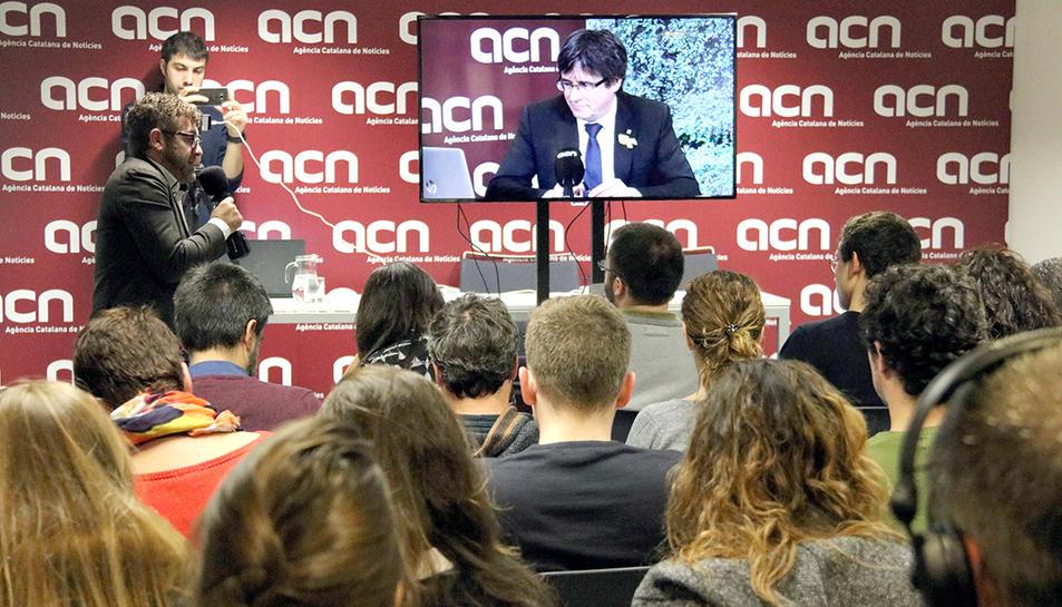 Roda de premsa a l'ACN del cap de llista de Junts per Catalunya, Carles Puigdemont.