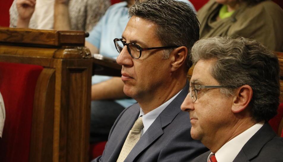 Imatge d'arxiu del candidat del PPC a la presidència de la Generalitat, Xavier García Albiol i el delegat del Govern a Catalunya, Enric Millo.