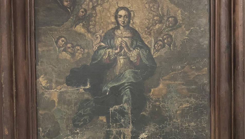Imatge de la 'Immaculada' l'obra que no es trobava i que era al Bisbat de Lleida.