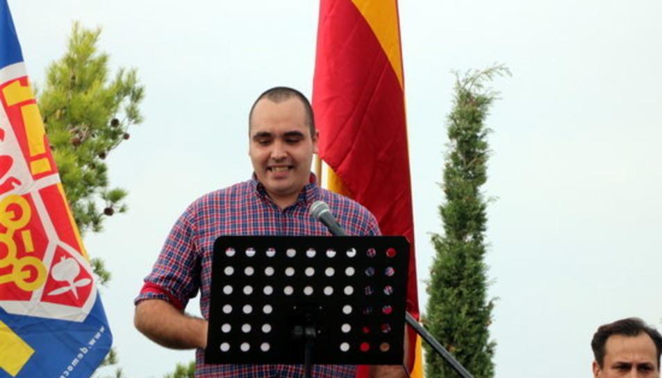 Imatge del militant d'ultradreta de l'organització 'Democràcia Nacional' Juan de Haro en una intervenció en un acte celebrat el 12 d'Octubre del 2017.