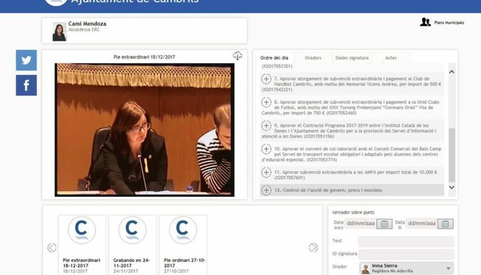Captura de pantalla de la nova eina 'videoacta' de les sessions plenaries de Cambrils.