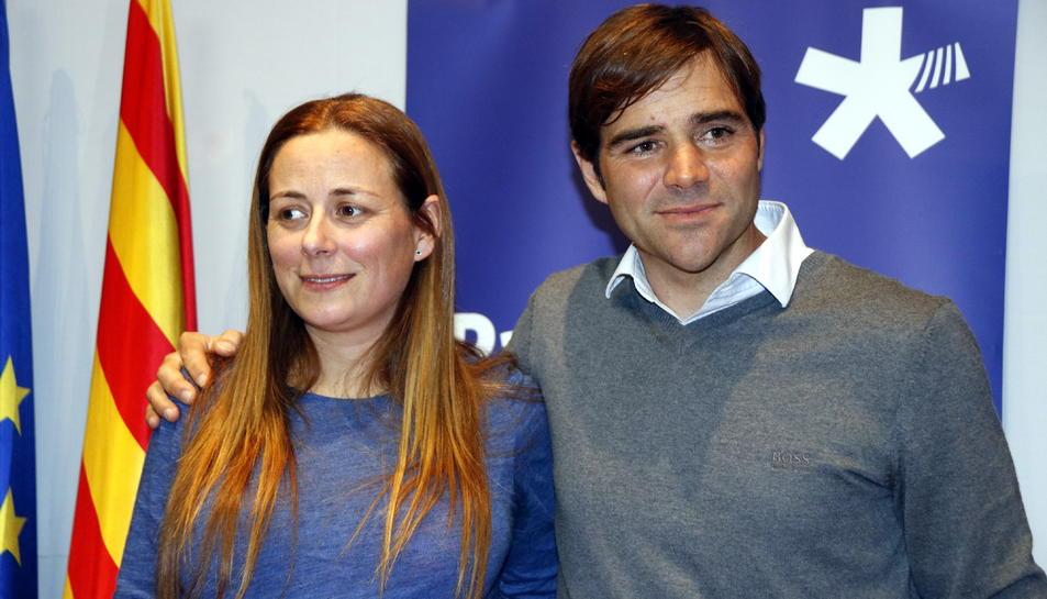 Pla mig del futur regidor i portaveu del PDeCAT a l'Ajuntament de Tarragona, Dídac Nadal, acompanyat de l'actual regidora Cristina Guzmán. Imatge del 17 de gener del 2018