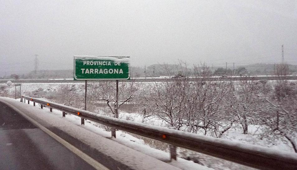 Imatge de neu a la província de Tarragona.