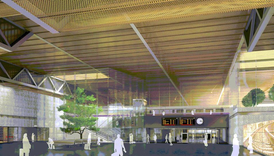 Recreació de l'interior de l'estació que es va preveure inicialment al sud de l'aeroport.