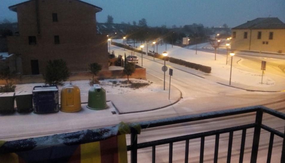 Santa Coloma de Queralt, nevada aquest matí.