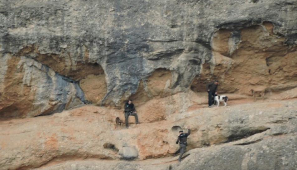 Imatge del rescat dels tres gossos a Benissanet.