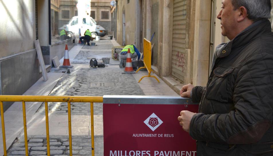 Imatge de les obres al carrer del Galió.