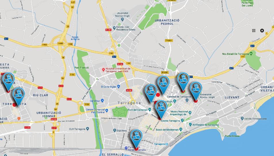 Mapa de Tarragona on s'ubiquen les nou escoles que tenen una vigilància diària per part de la Guàrdia Urbana.