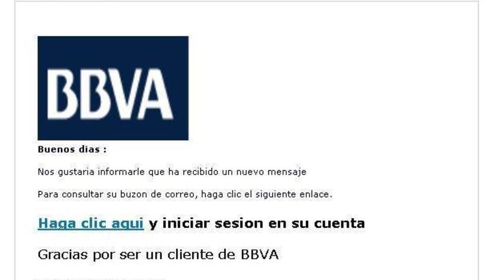 Exemple d'estafa sota el nom de BBVA.
