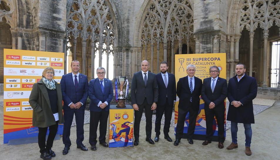 Tots els participants a la presentació de la Supercopa de Catalunya, a Lleida.