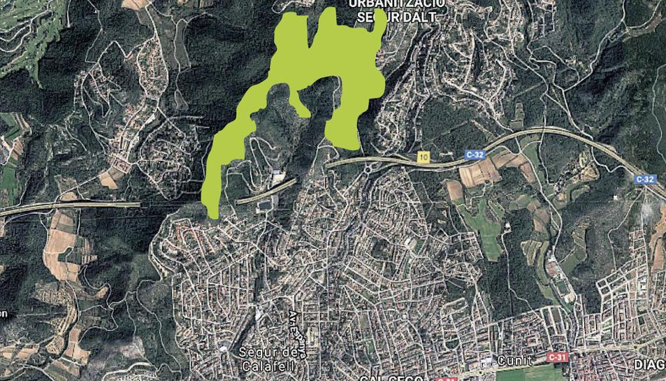 En el mapa, la zona marcada correspon a les 100 hectàrees que es convertiran en parc urbà.
