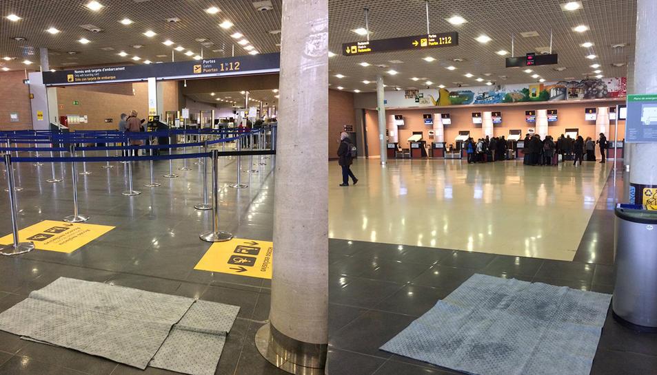 Estores posades al terra a on hi ha goteres a l'interior de la terminal.