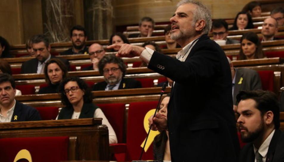 Pla general de Carlos Carrizosa, diputat del grup parlamentari Ciutadans al Parlament de Catalunya, parlant des de l'hemicicle, 1 de març de 2018.