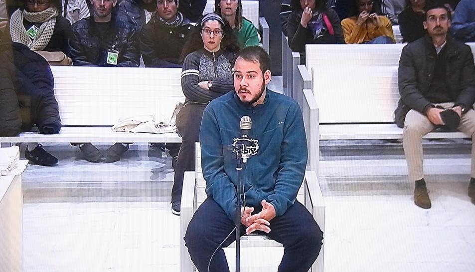 Pablo Hasel durant el judici a l'Audiència Nacional.