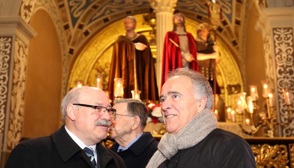 Joan Martí i Castell, ahir en el curs de la presentació de l'opuscle de la Germandat de l'Ecce-Homo.