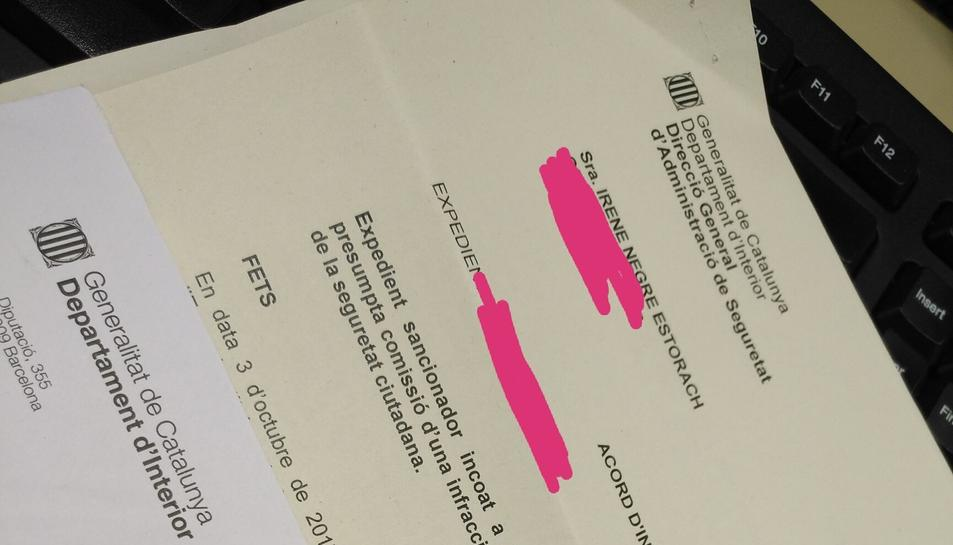 Irene Negre ha mostrat la multa que ha rebut a través del seu perfil de Twitter.